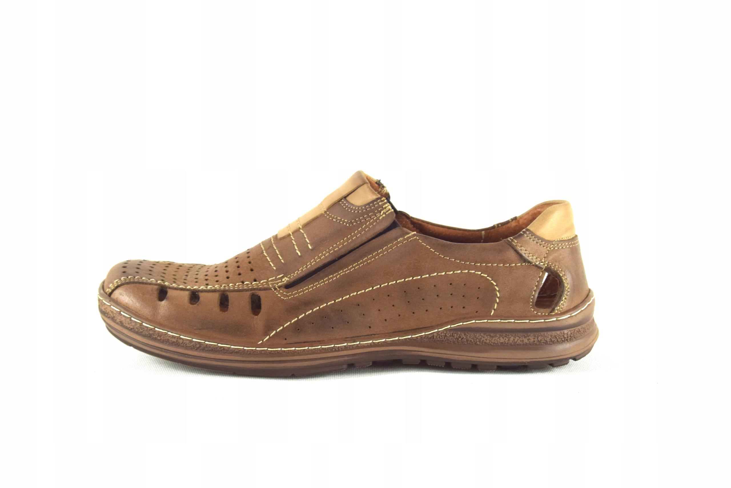 Mokasyny na lato buty ze skóry męskie dziurki 190L Marka inna