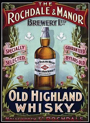 Plechová tabuľa RETRO 30x40 Rochdale Whisky