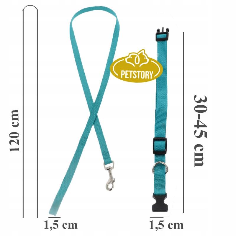 KOMPLET SMYCZ + OBROŻA REGULOWANA dla Psa 15mm M Kolor odcienie niebieskiego