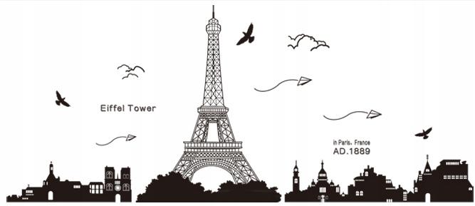Наклейка на стену Эйфелева БАШНЯ Париж с видом на город