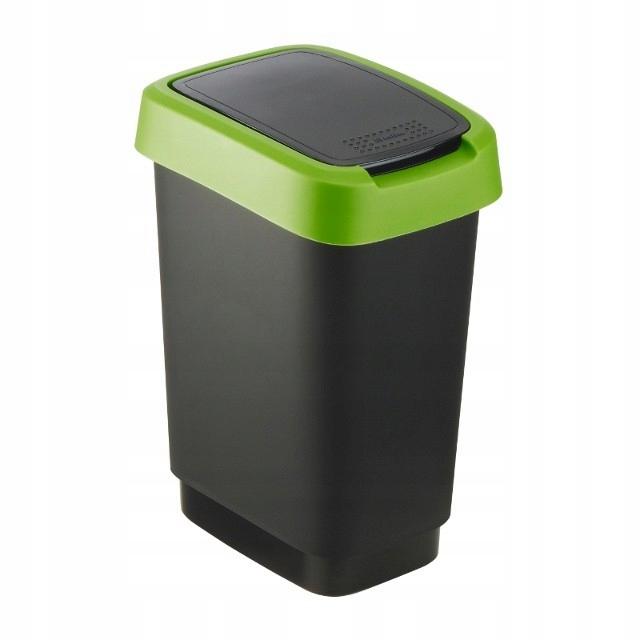 Tilting Trash Bin 10 l Twist Black / Green