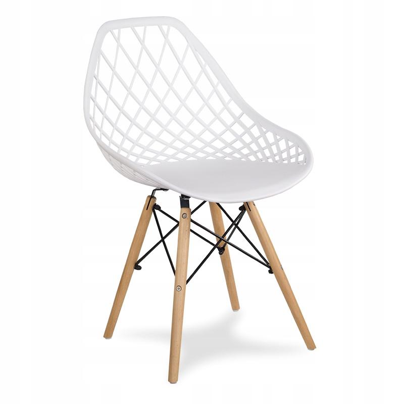 Krzesło ażurowe do salonu kuchni białe YE-01