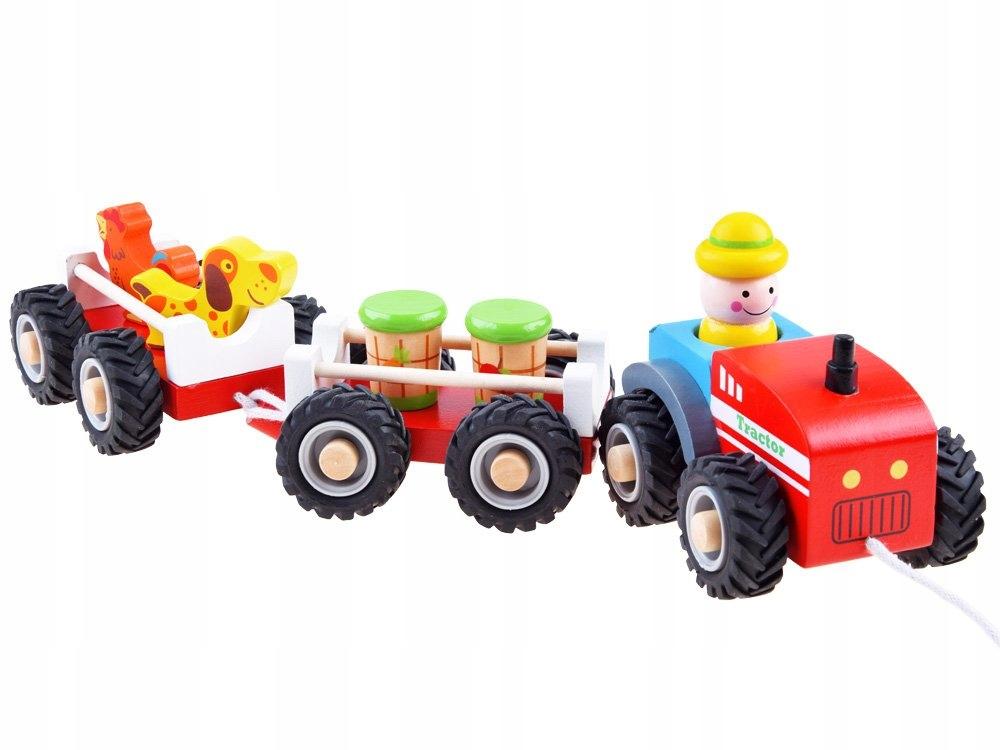 Traktor z przyczepą drewniana Kolejka farma ZA3566 Płeć Chłopcy Dziewczynki