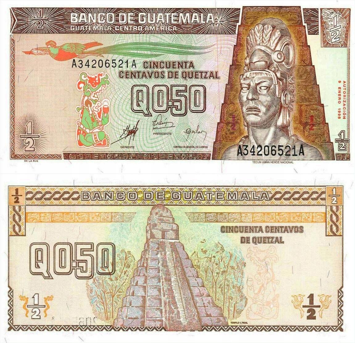 # GWATEMALA - 1/2 QUETZALA - 1998 - P-98 - UNC