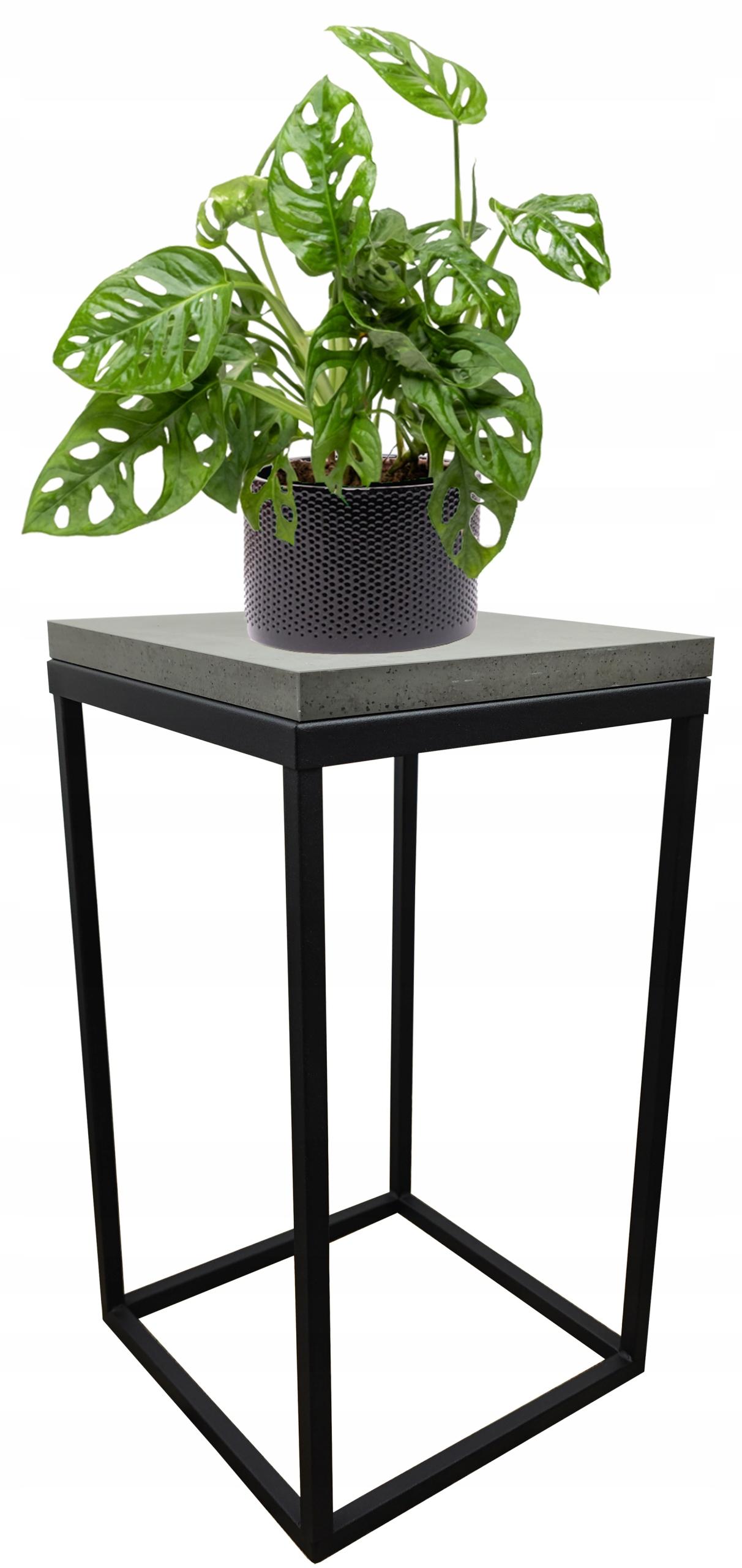 Подставка для растений металлическая loft черная столешница Concrete Dark 40см