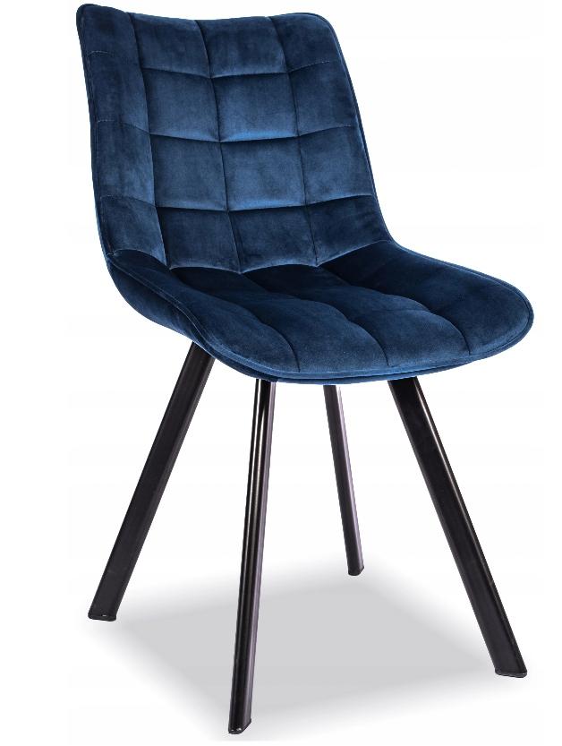 Krzesło Tapicerowane Pikowane Granatowe Welur