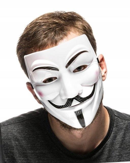 Maska V Jak Vendetta Anonymous Guy Fawkes Biala 10087049131 Allegro Pl