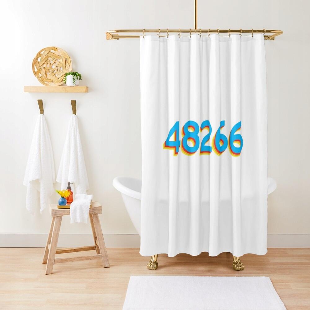 48266 Detroit Retro farebný dizajnový sprchový záves
