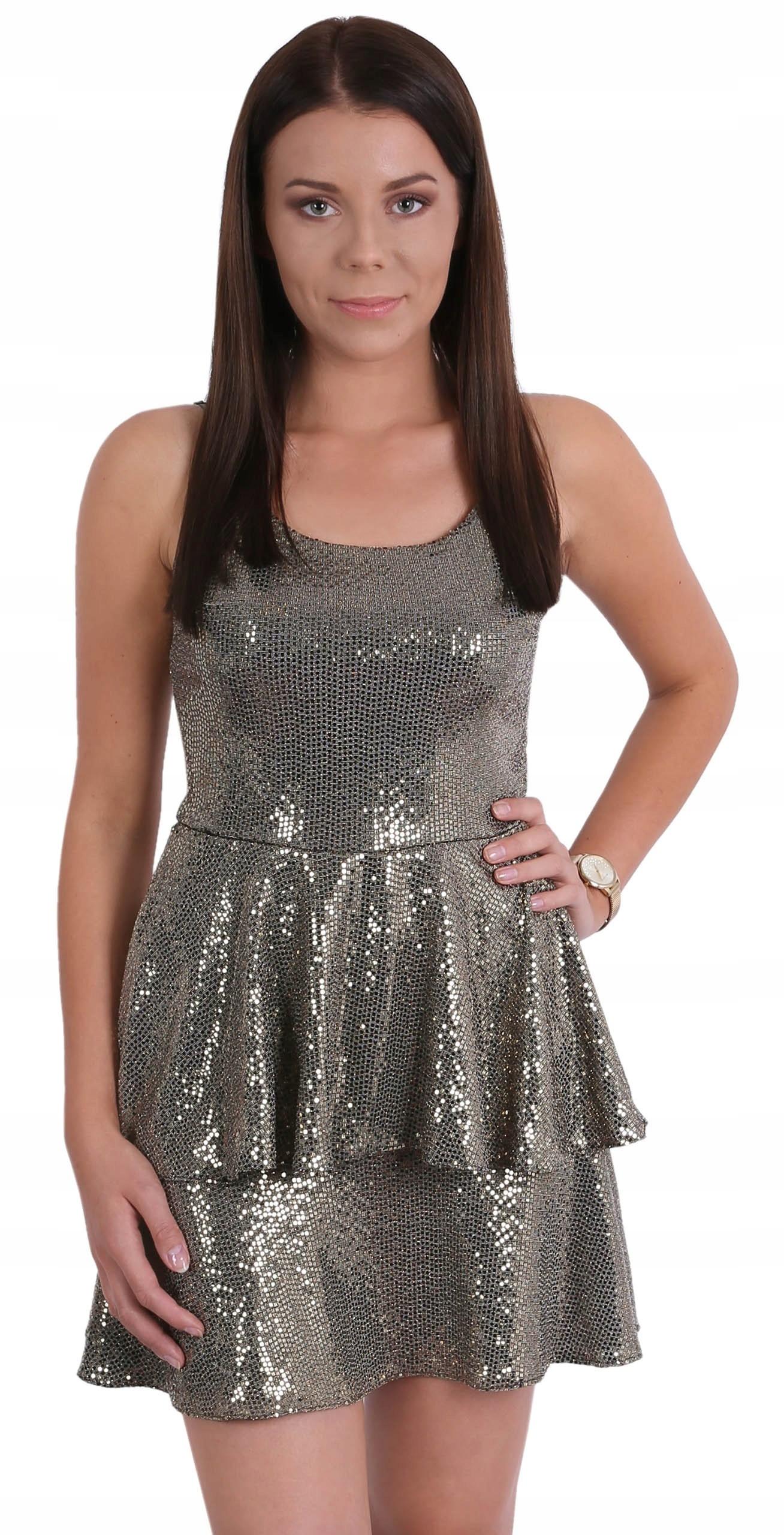 Złota, cekinowa sukienka z falbanami John Zack