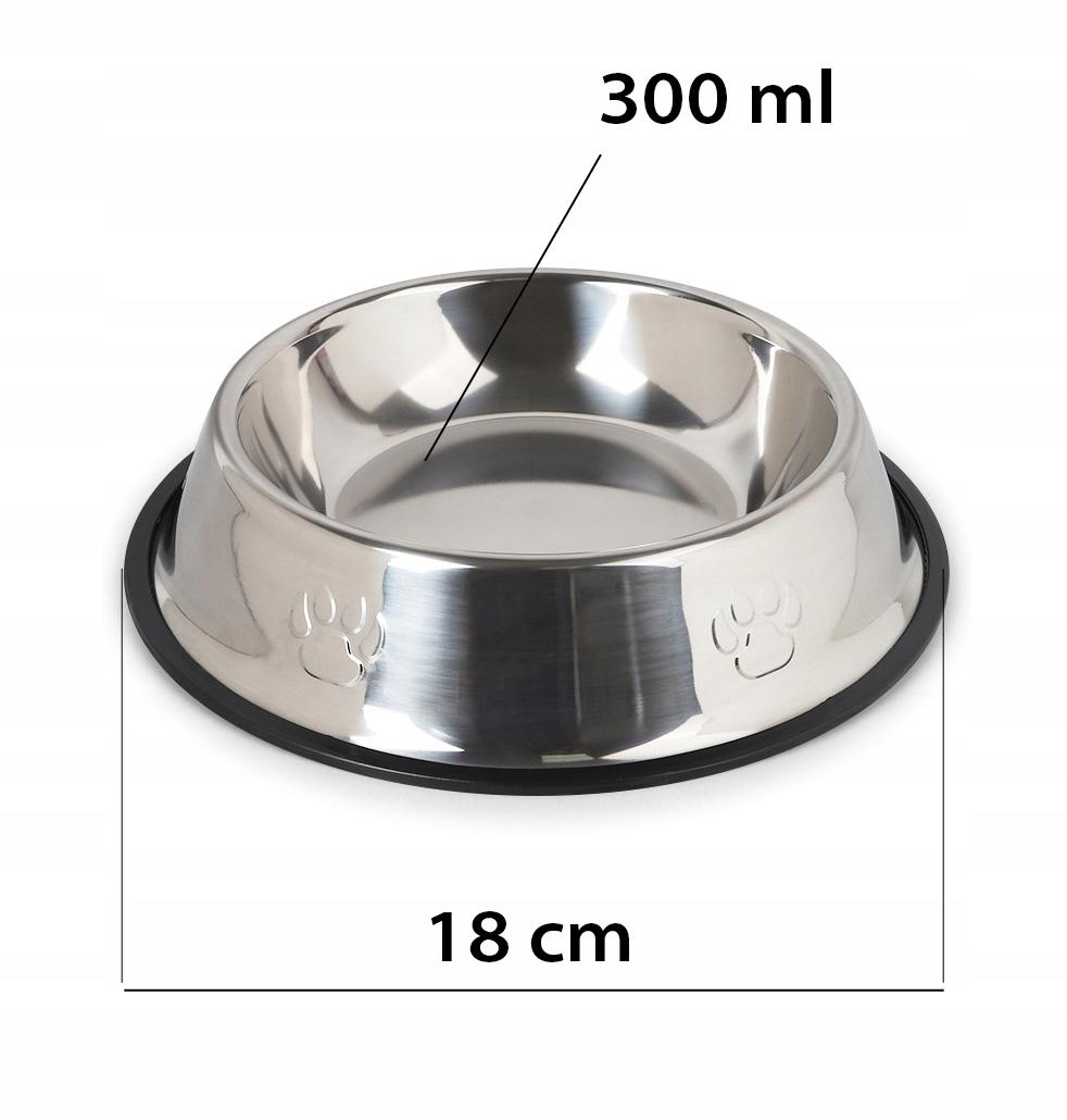MISKA METALOWA NA GUMIE dla psa ANTYPOŚLIZG 0,3L Pojemność 0.3 l