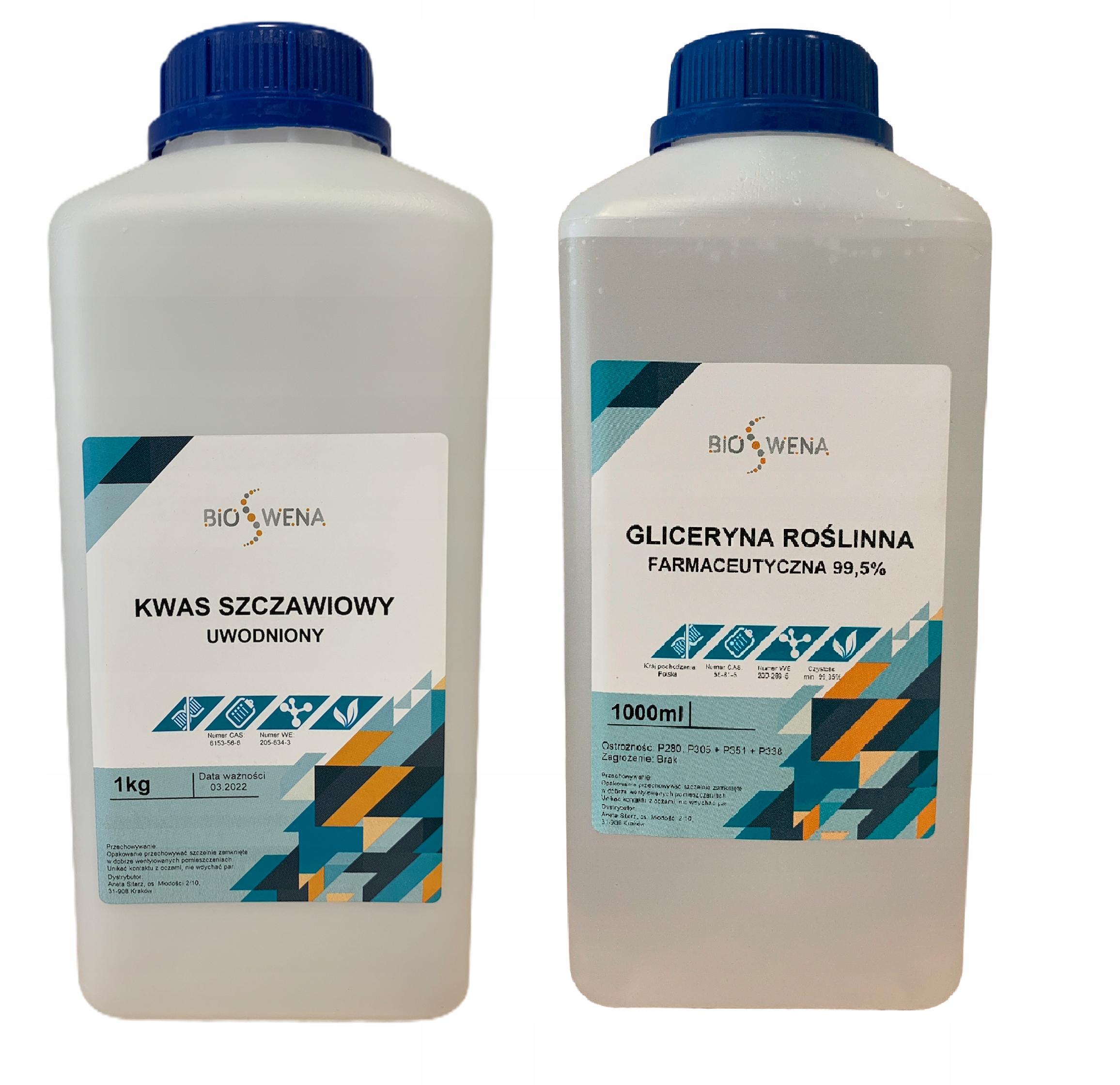 Kwas szczawiowy 1kg + Gliceryna 1,26kg na warrozę