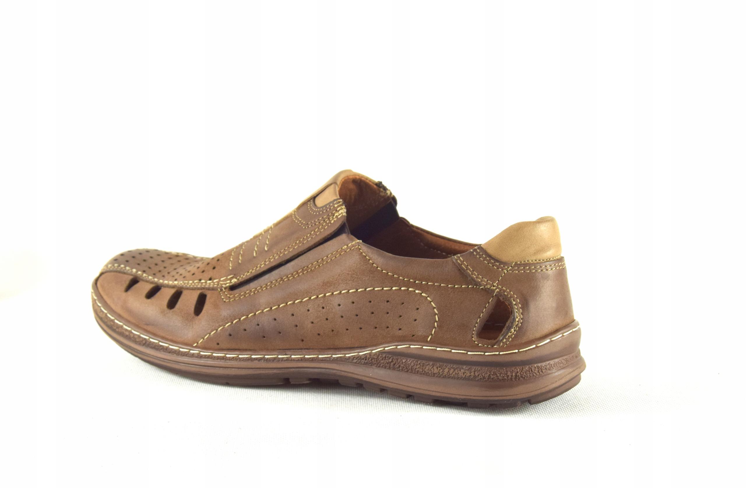 Mokasyny na lato buty ze skóry męskie dziurki 190L Kolor brązowy