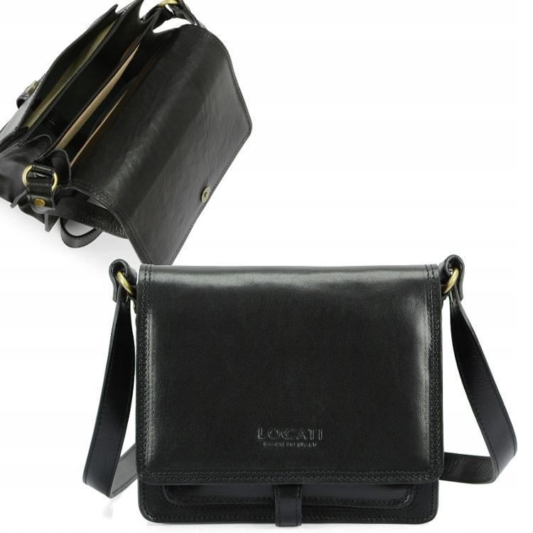 Talianska čierna kožená taška na messenger Retro kabelky