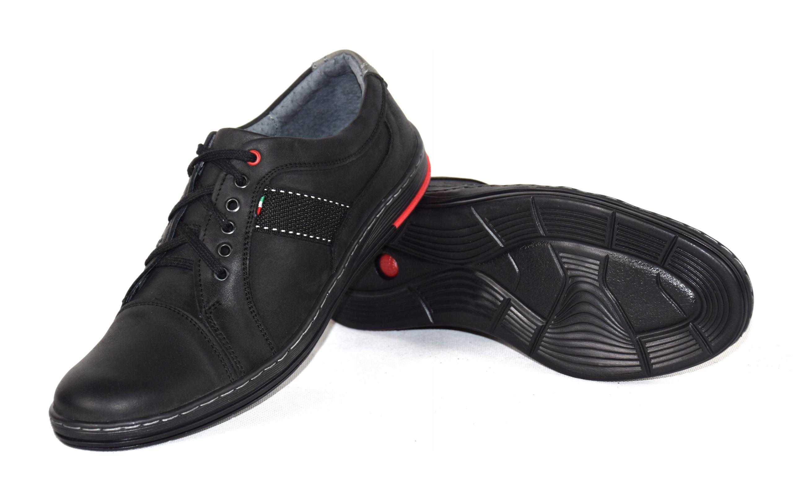 Półbuty czarne trampki skórzane buty polskie A238 Oryginalne opakowanie producenta pudełko