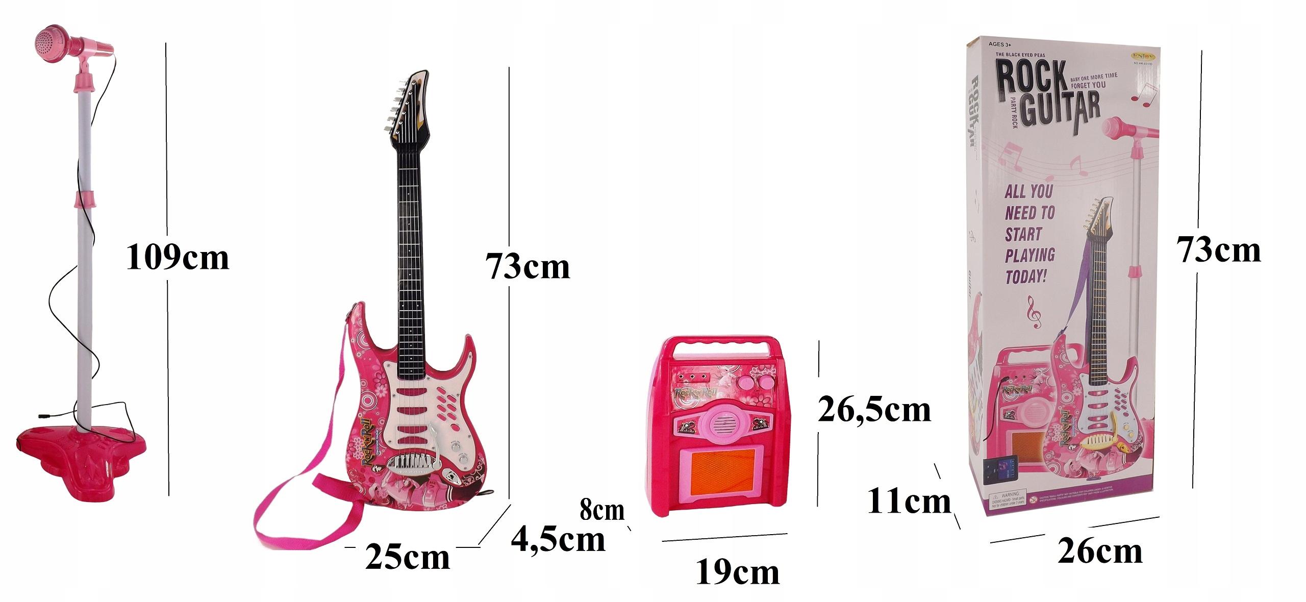 GITARA ELEKTRYCZNA WZMACNIACZ MIKROFON 8010R Wysokość produktu 73 cm