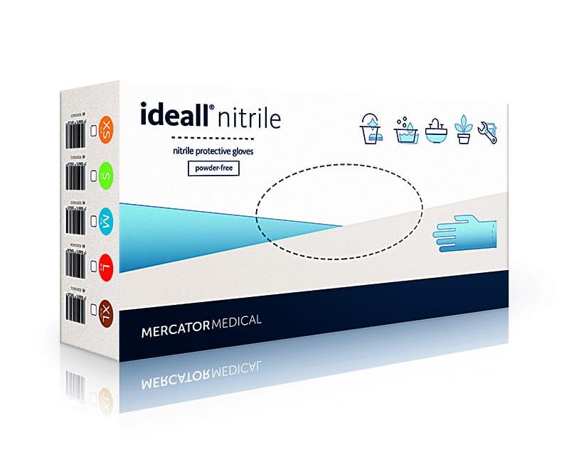 Перчатки ideall нитрила - синий - XS 100шт