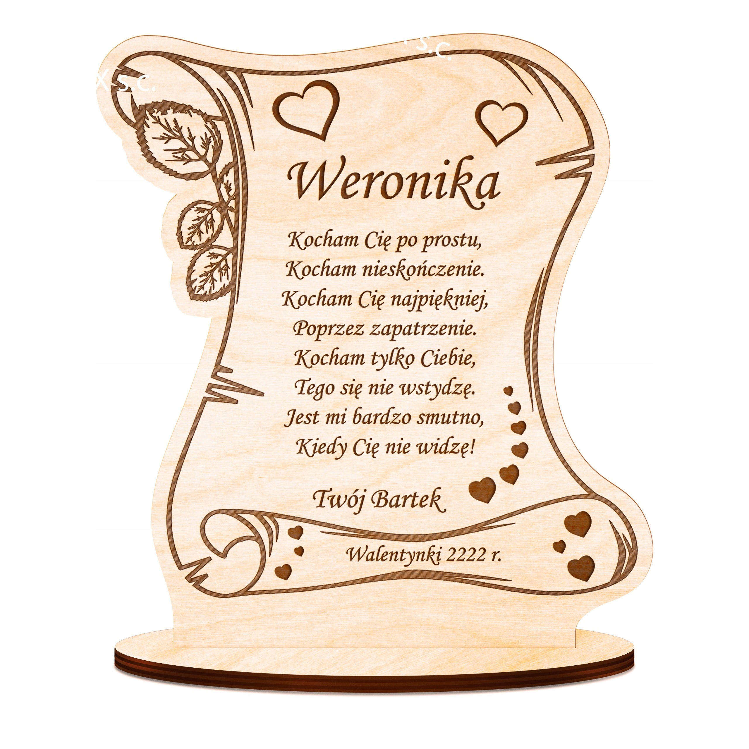 Dar dňa 14. február pre Valentína Drevený soška