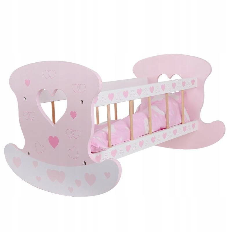Funikids Drevená kolíska pre bábiky, posteľná súprava