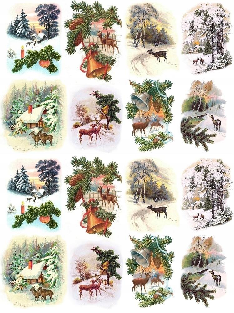 Papier ryżowy A4 papiery ryżowe Sarenki zima