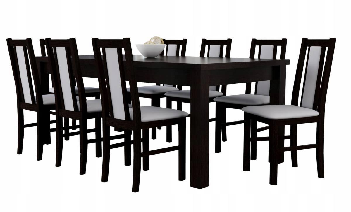 Stół 90x170 do 250 + 8 drewnianych krzeseł