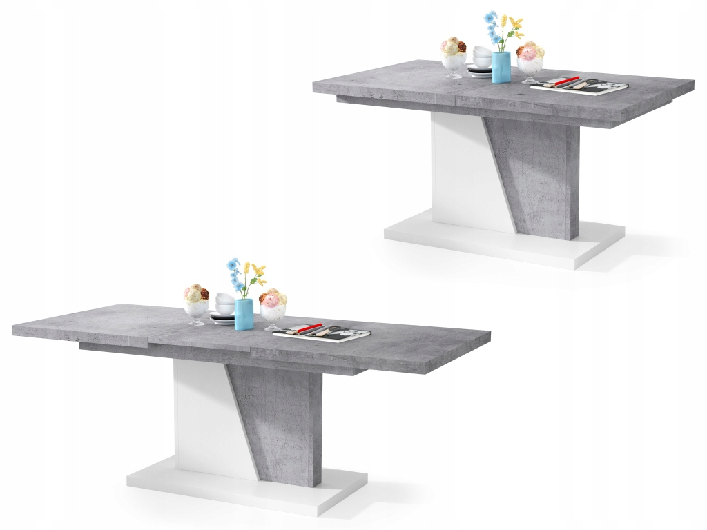 NOIR бетон \Белый - скамья РАЗДВИЖНОЙ СТОЛИК стол+скамья
