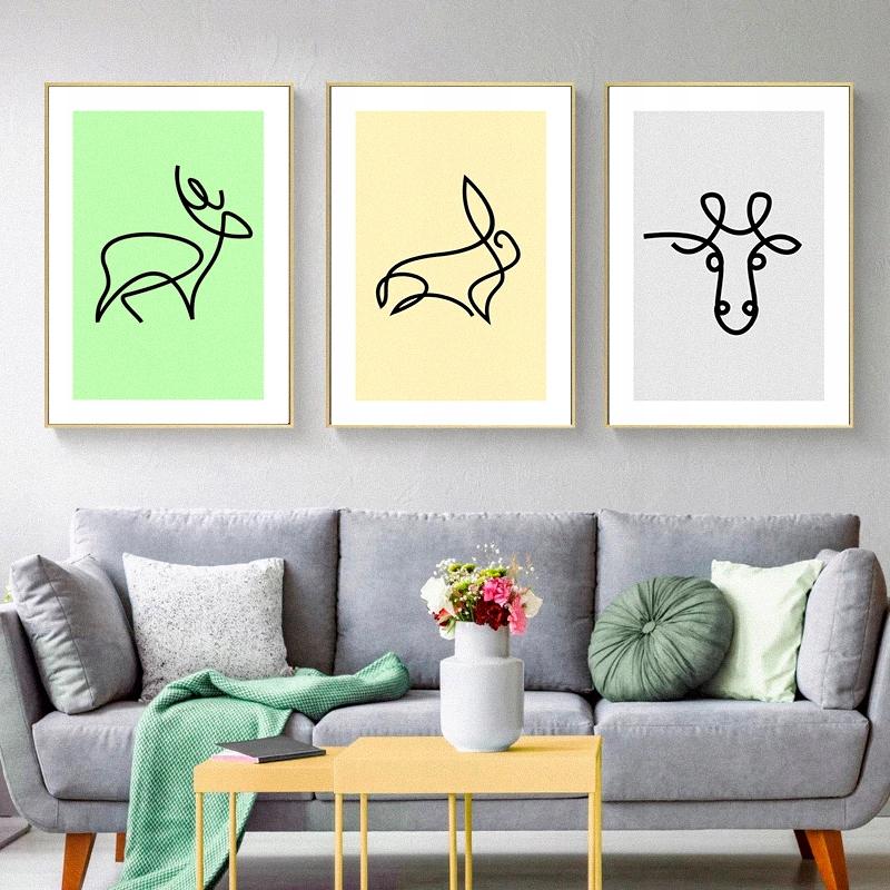 Minimalistyczne Grafiki Zwierzęta Animals A3