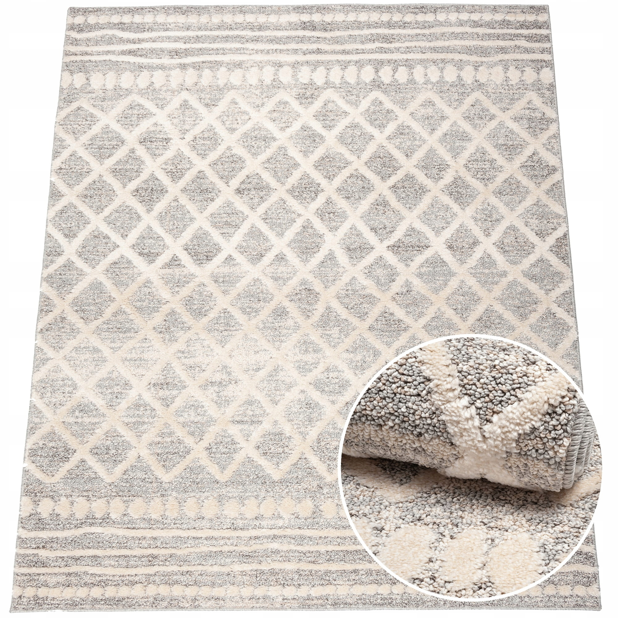 Duży dywan etno boho fryz 160x220 aztecki szary