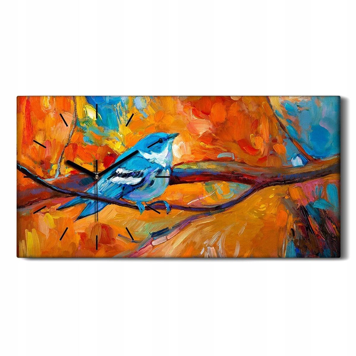 Art Ptak Zwierzę 60x30 Zegar na płótnie na ścianę