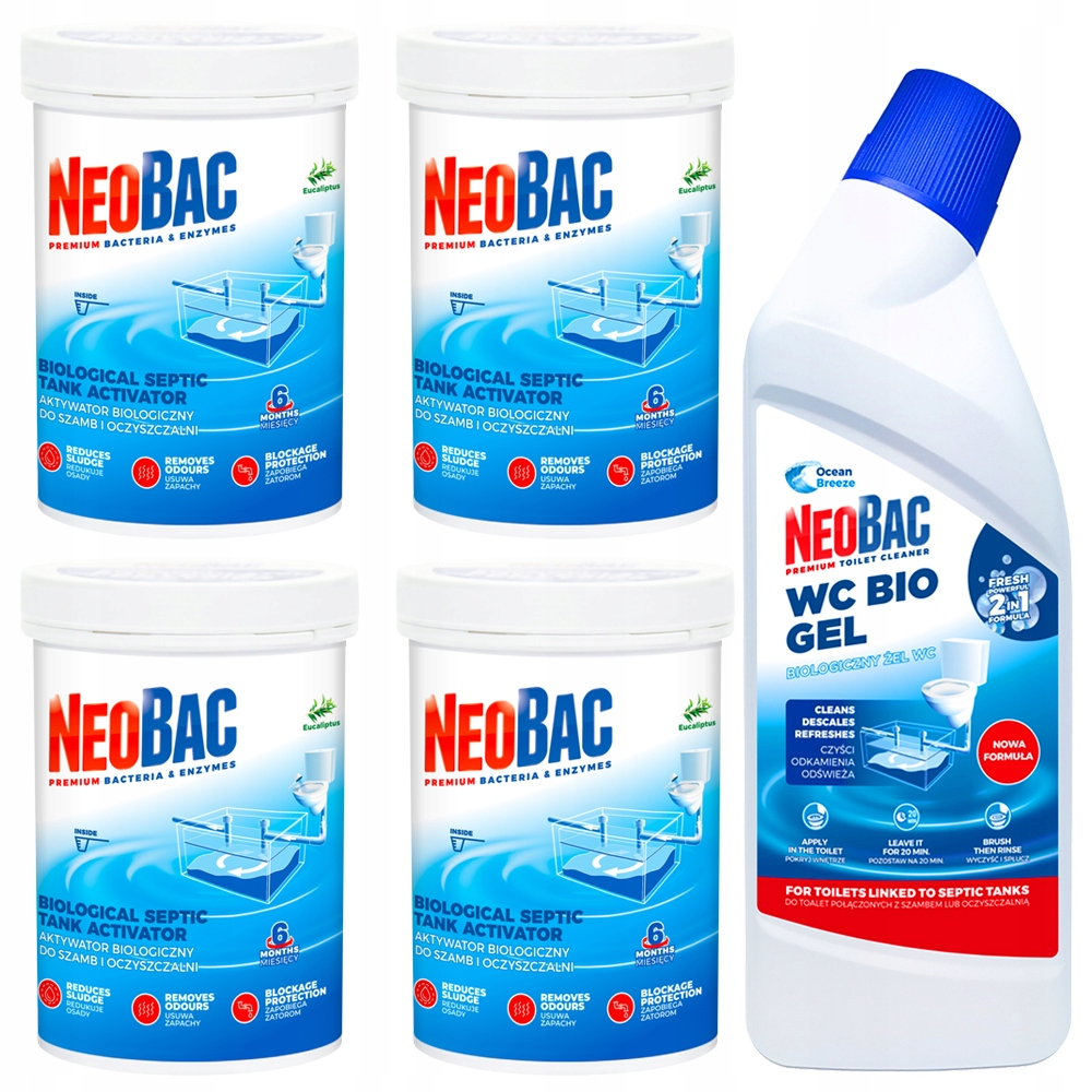 Бактерии для очистных сооружений NEOBAC + Bio WC Gel 2in1