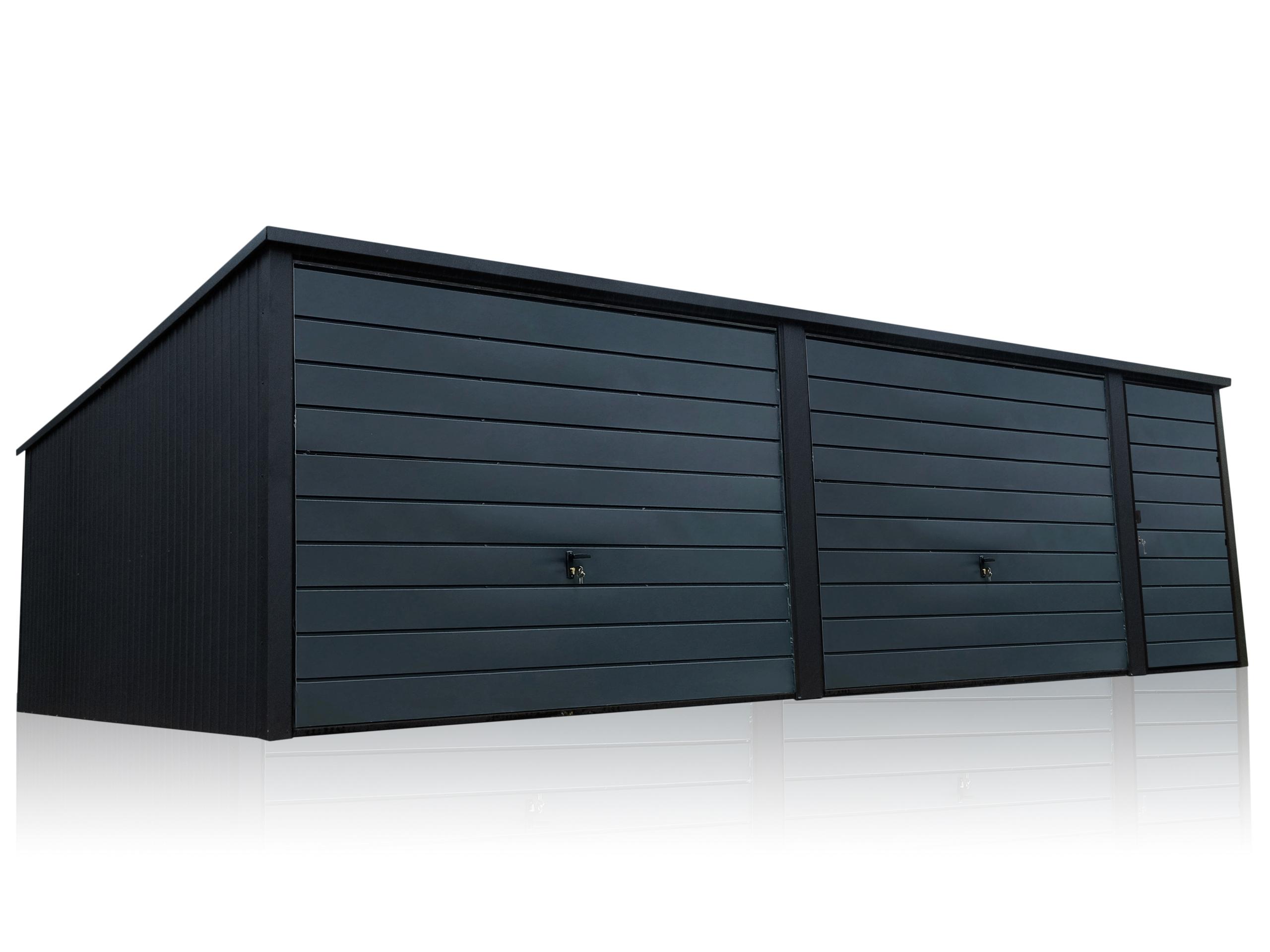 Металлический гараж 7x5м Premium Graphite Matte Black