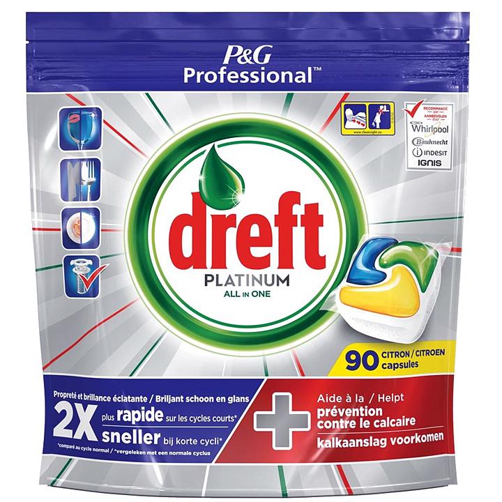 Таблетки для посудомоечной машины Dreft Platinum Lemon 90 шт.