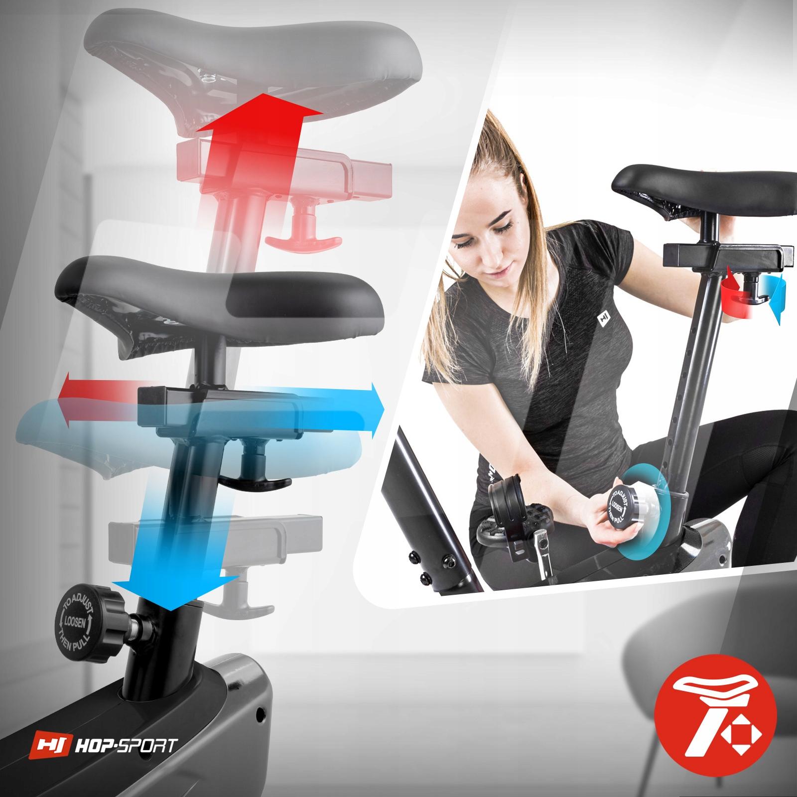 Rower stacjonarny magnetyczny treningowy regulacja Pomiary czas trwania treningu dystans prędkość puls scan spalone kalorie