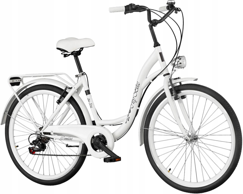 Mestský bicykel Dámsky Citybike 26-palcový 7 rýchlostí + brzdy V-brzdy KOŠÍKU