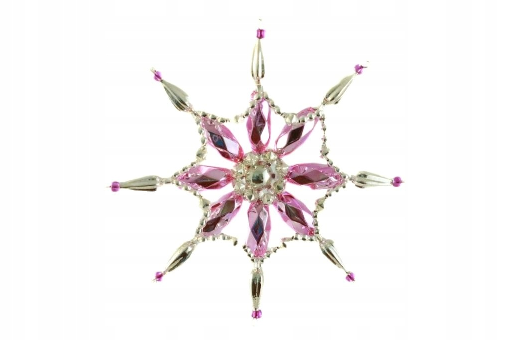 Strieborná ružová snehová vločka Bohemian star