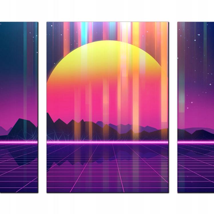Triptych pre obývaciu izbu Retro 80's Futuristic Background Art