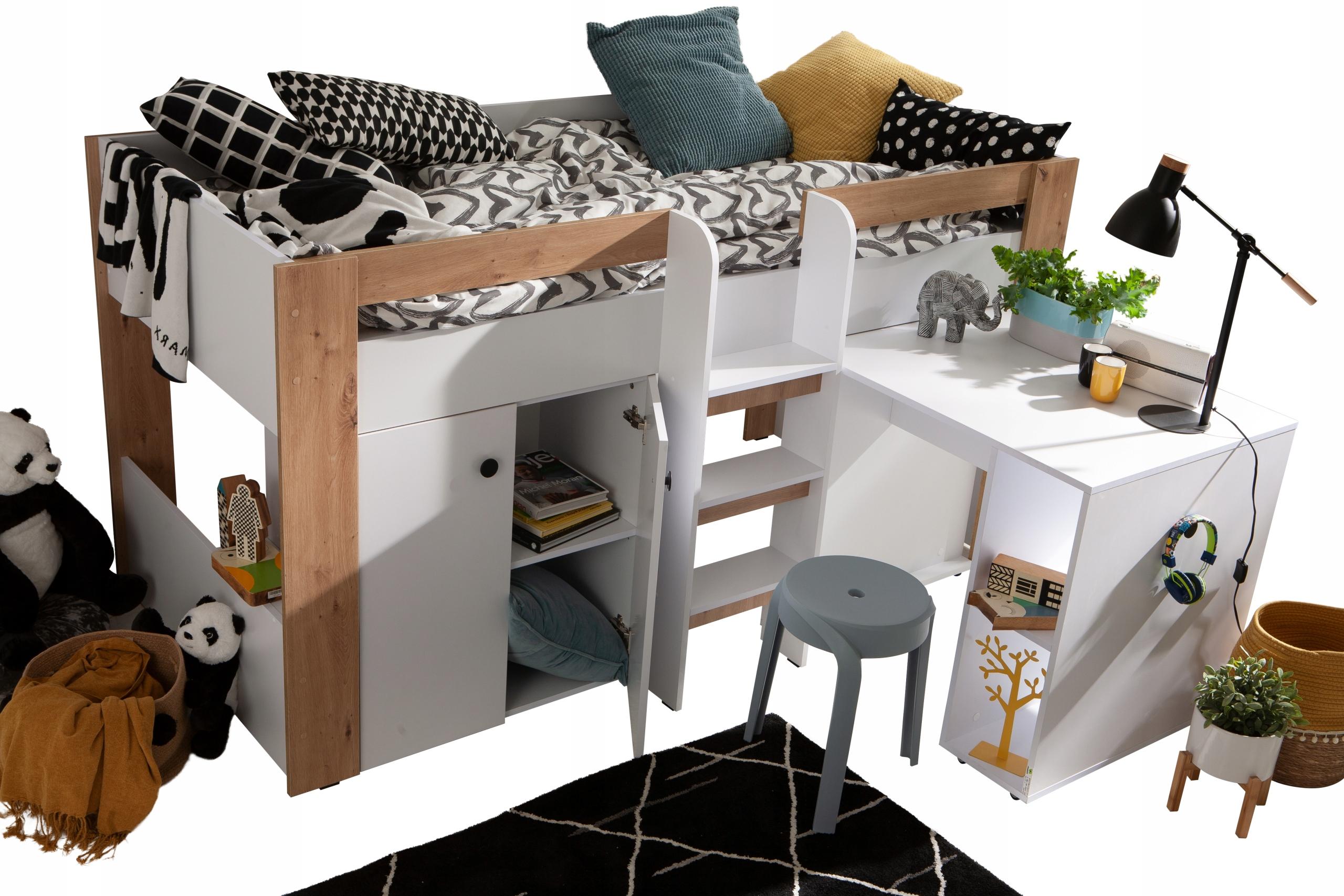 Двухъярусная кровать с письменным столом, антресоль GUSTO 1