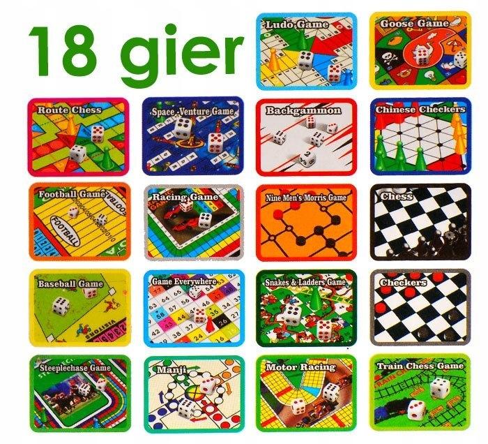 ZESTAW GIER 18 w1 gra planszowa szachy GR0081 Materiał Papier Plastik