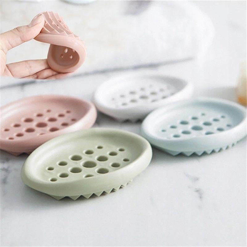 Biela silikónová nádoba na mydlo v kúpeľni Rukoväť
