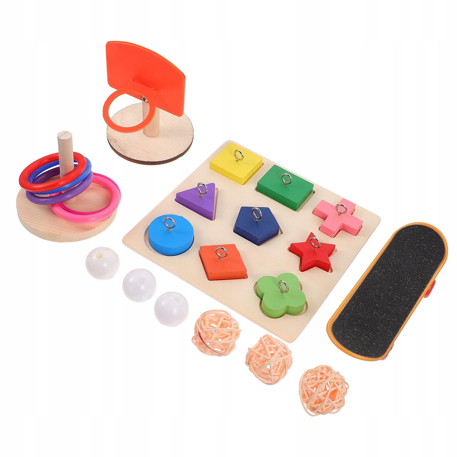 1 набор из 4 предметов. Деревянная жевательная игрушка-попугай.