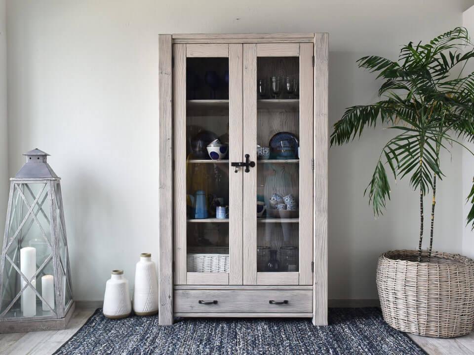 Vidiecka nová drevená vitrína 30 RETRO