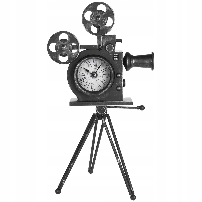 Kovové stojace hodiny Retro filmová kamera 53cm