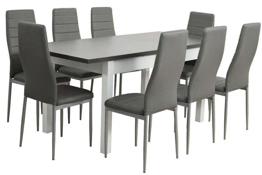 Duży stół rozkładany 80x140/180 8 szarych krzeseł
