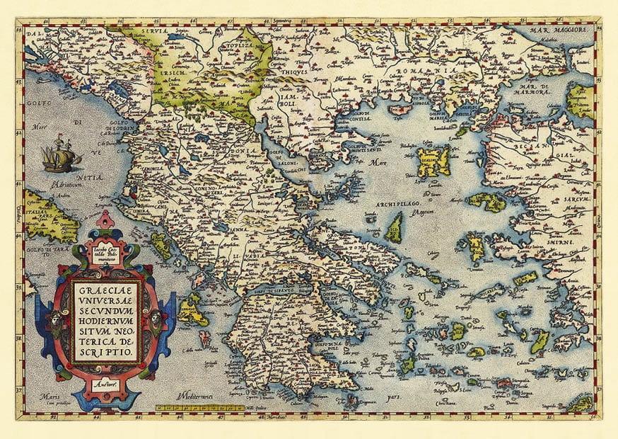 Stará mapa Grécka