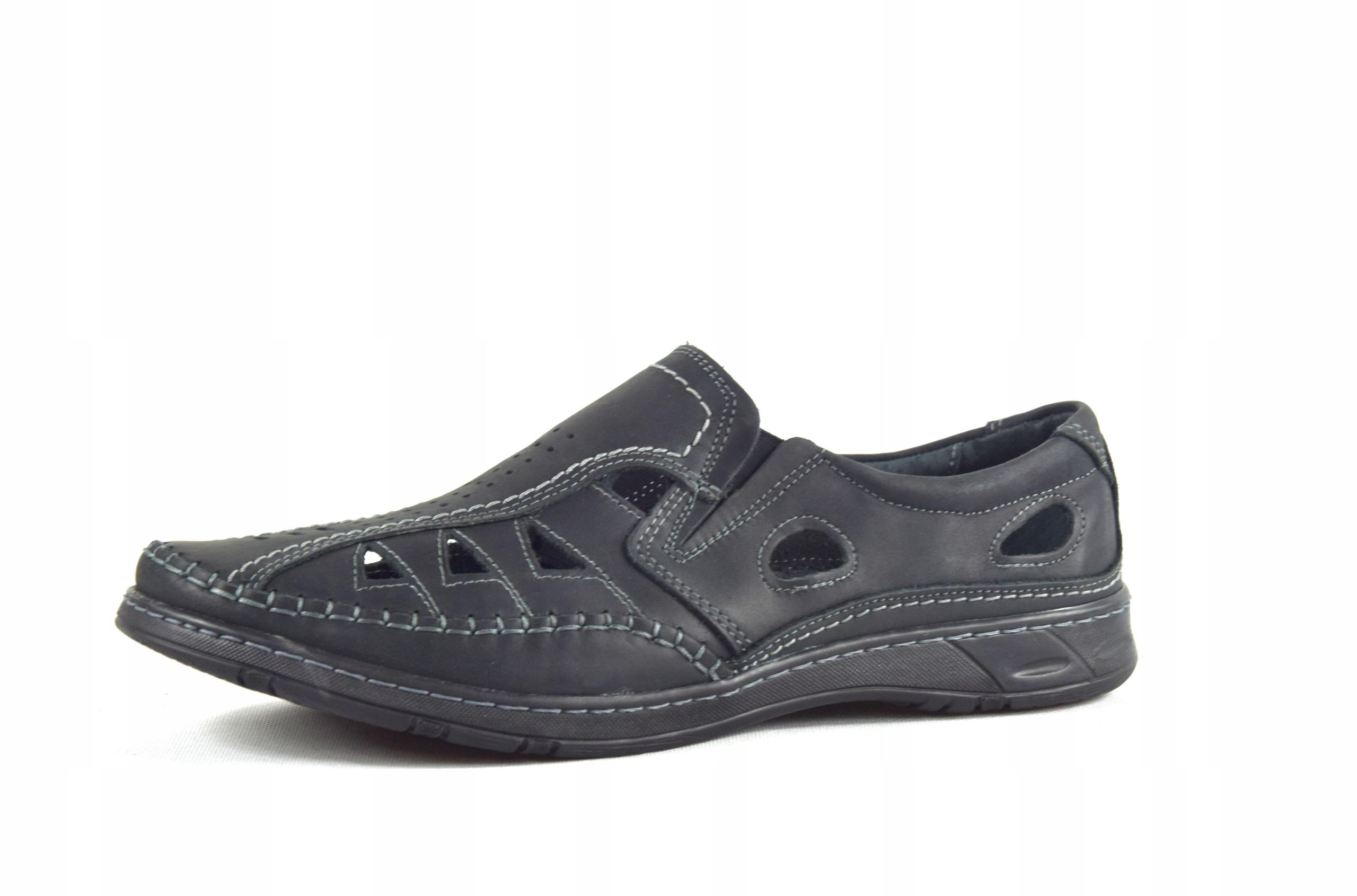 Męskie buty skórzane polskie mokasyny skóra 0270CC