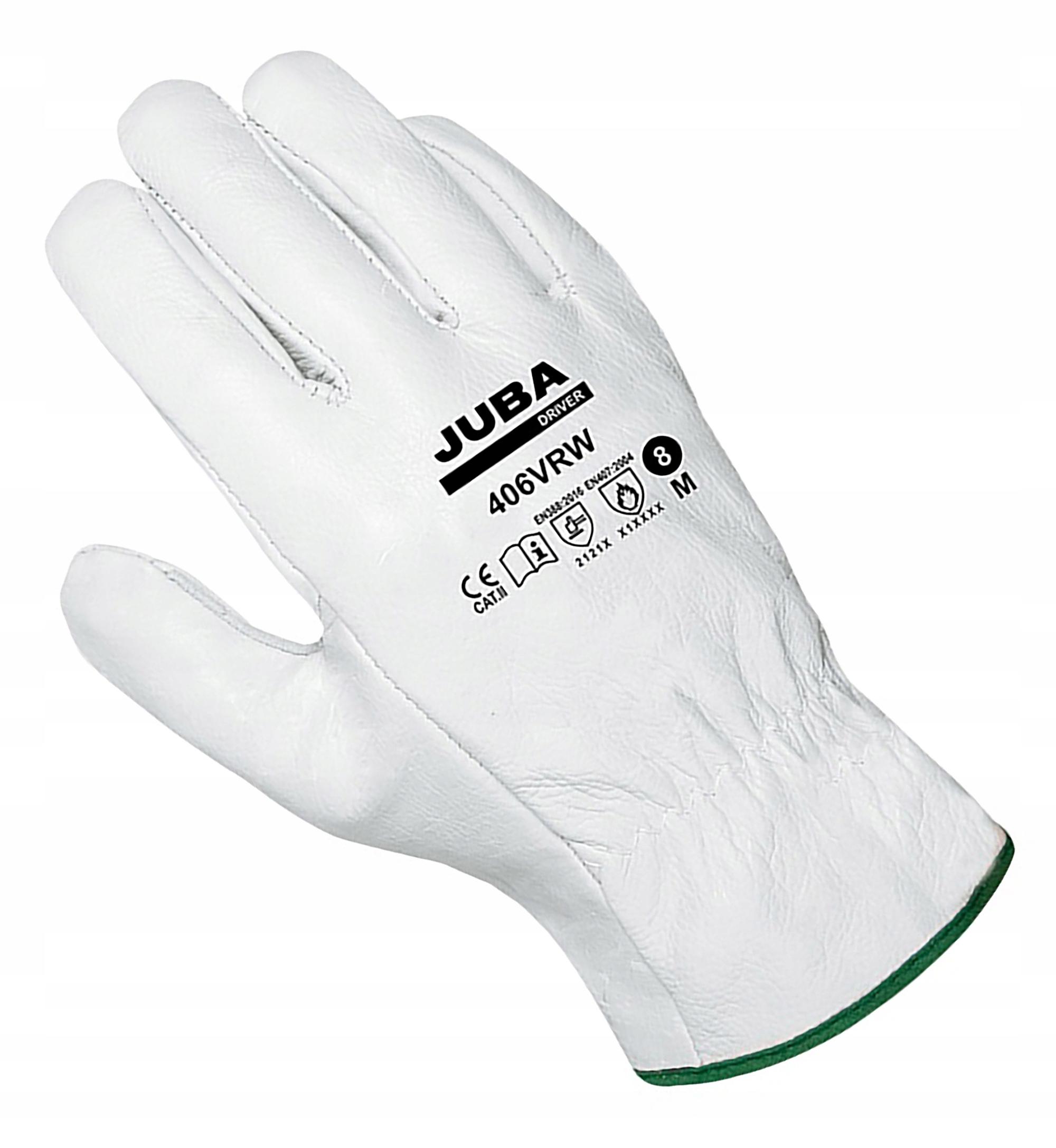 Перчатки рабочие 406VRW кожа lic. белая Джуба р. 9