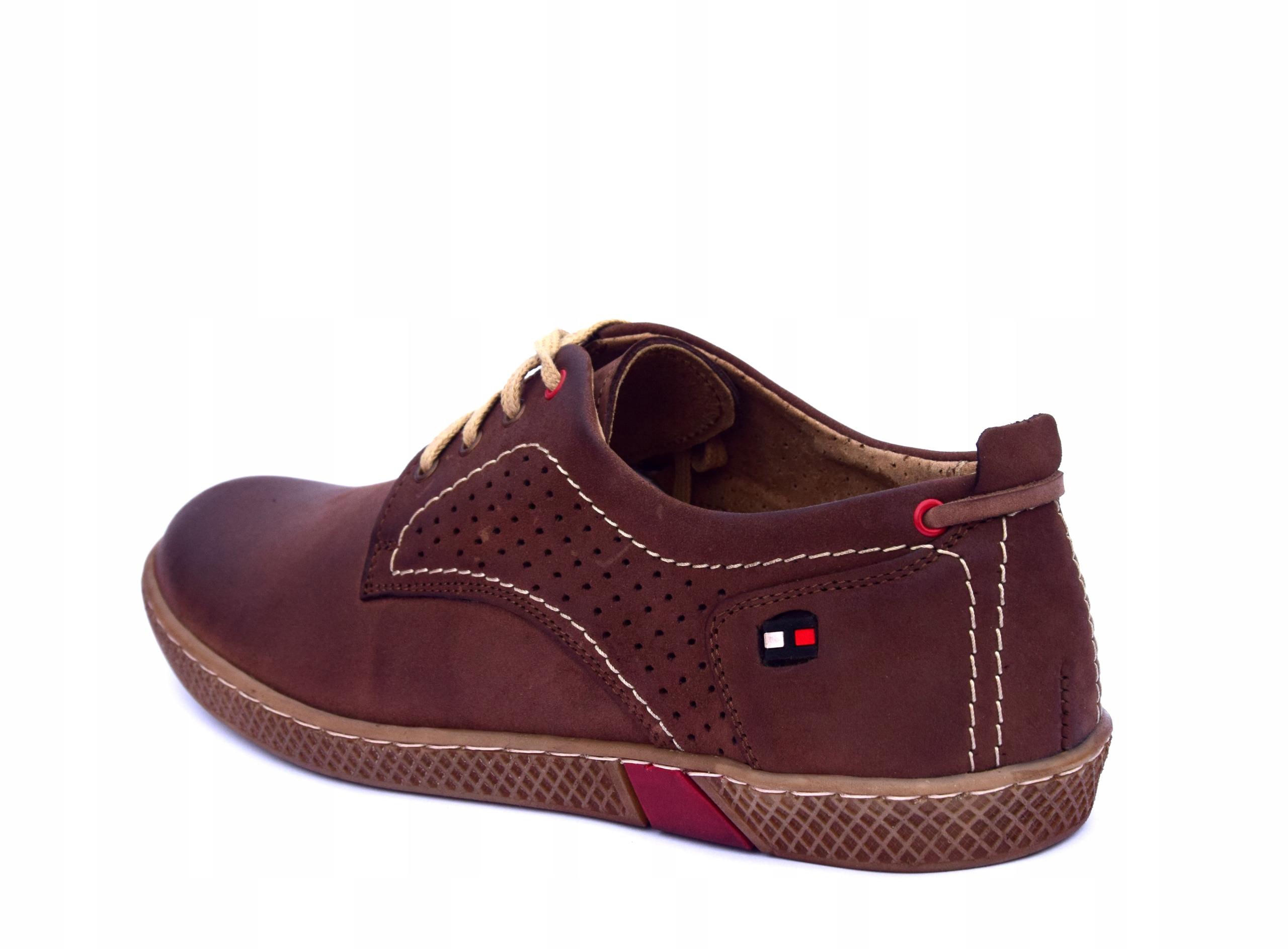 Półbuty skórzane męskie brązowe buty polskie 302 Kolor brązowy