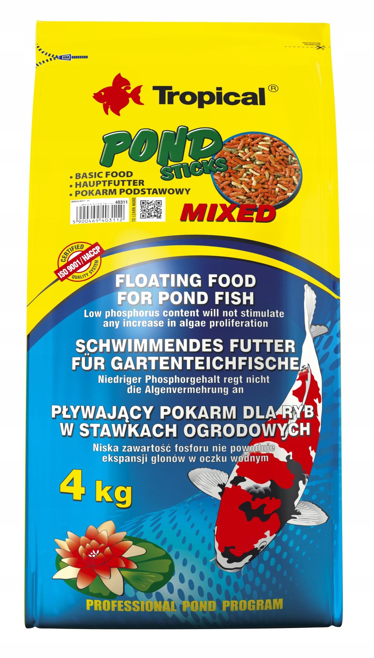 Tropical Pond Sticks Mixed 50l Pokarm Dla Ryb Koi