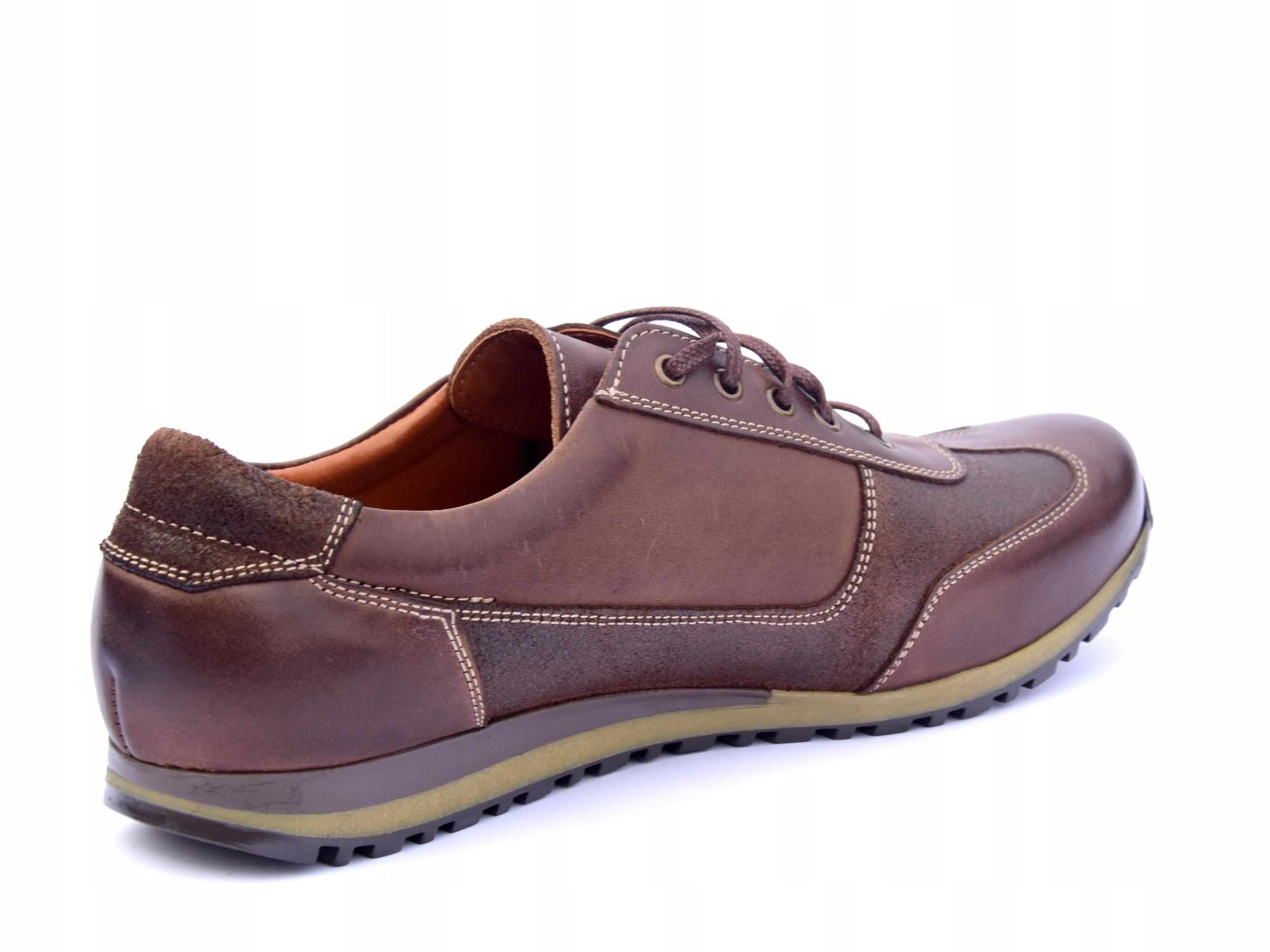 Półbuty skórzane brązowe obuwie ze skóry PL 294 Kolor brązowy