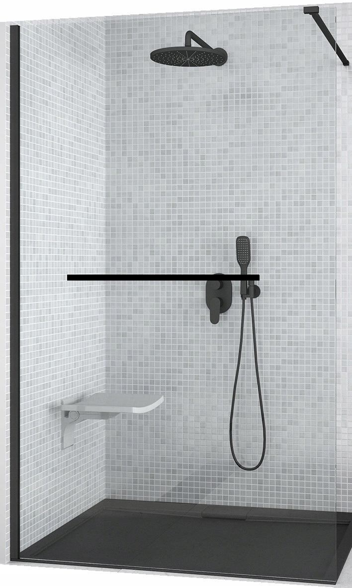WALK-IN ścianka szyba prysznicowa 100 czarna 8 mm