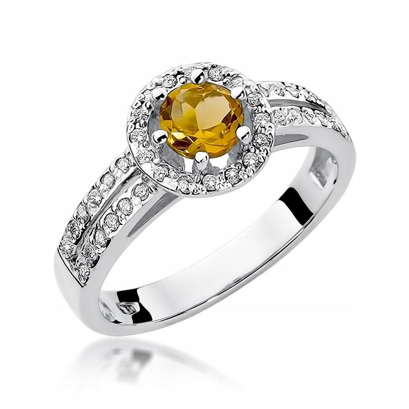 Bohaté krúžok s CITRINE a Diamanty biele zlato
